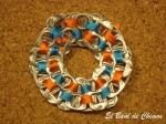 Pusera cosida azul-naranja